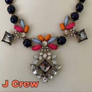 J Crew necklace Rhinestone pink blue orange